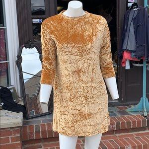 Gold velvet dress